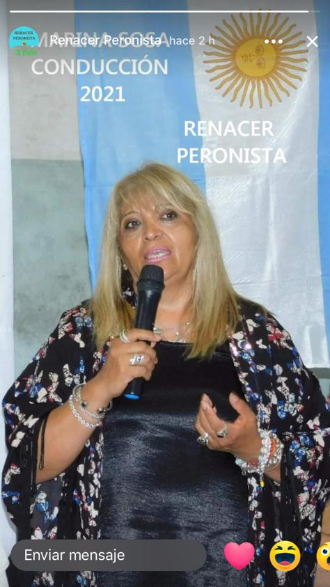 "Marina Armani: ""Cristina es la líder que nos representa a todos""."